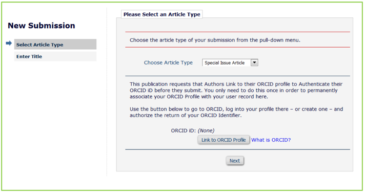 ORCID by article type